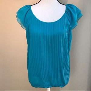 Zac & Rachel Teal Pleated Blouse Top Size M